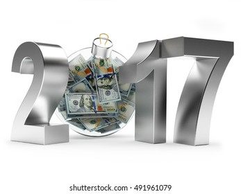 2017 New Year with glass Christmas ball full of dollar bills isolated on white background. 3D illustration