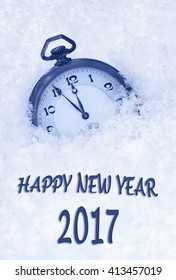 2017 New Year greeting card  in English language, pocket watch in snow, 2017 new year