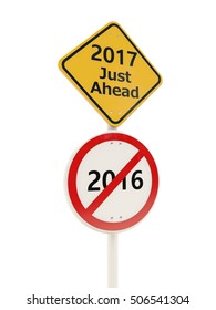 2017 New year on road sign. 3D illustration