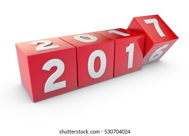 2017 new year text 3D rendering