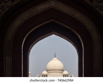 2017 October 15th,Agra India : silhouette of arch structure the Taj Mahal on blue clear sky background