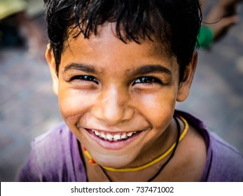 2017 October 19th Agra ,India :Portrait of Indian poor kid is smiling