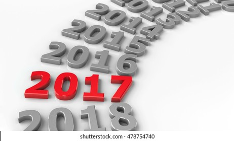 2017 past in the circle represents the new year 2017, three-dimensional rendering, 3D illustration