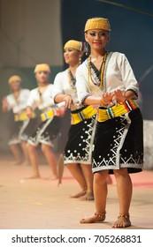 2017: Pretty Lundayeh dancer girl at Sabah Cultural Village, Sabah, Malaysia-Julai 20, Malaysia., Penampang, Sabah.