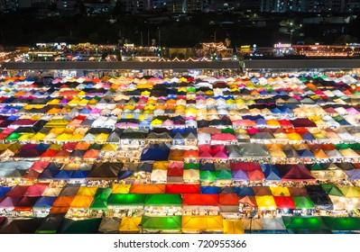 2017 , September 10 : Bangkok ,Thailand - the Colorful Night Market Ratchada, also known as Talad Nud Rod Fai, is only a two-minute walk from the MRT.