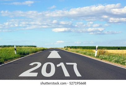 2017 - street with arrow and year - the future