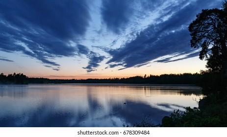 2017 summer, Night view over the lake in Strömsbruk, Nordanstig, in the north of Sweden