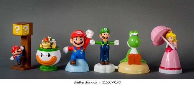 2017  Super Mario collection in gray back ground.  There are plastic toy sold as part of the McDonald's Happy meals.