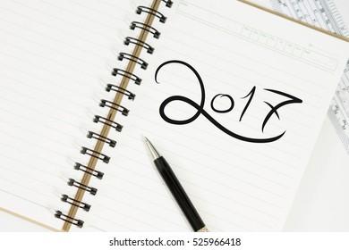 2017 written on notepad