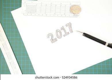 2017 written on paper