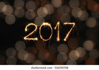 2017 written with Sparkle firework