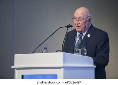 2017-07-10 Former president of South Africa He Frederik Willem De Klerk makes his speech at 22nd. World Petroleum Congress Istanbul Turkey.