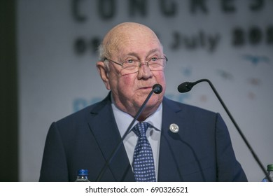 2017-07-10 Former president of South Africa He Frederik Willem De Klerk makes his speech at 22nd. World Petroleum Congress Istanbul Turkey.