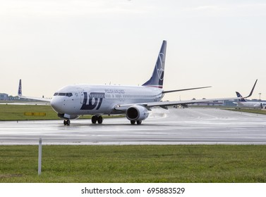 2017-07-17 Warsaw Chopin Airport - AIRCRAFT: Boeing 737-89P AIRLINE: LOT - Polish Airlines - taking off from the Warsaw Chopin Airport Poland