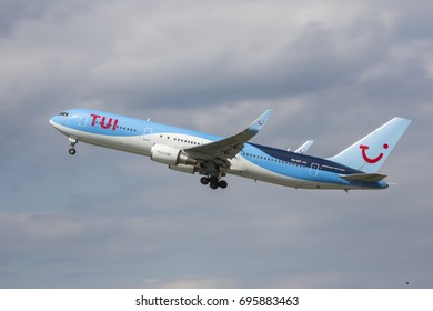 2017-07-18 Warsaw Chopin Airport - AIRCRAFT: Boeing 767-304(ER) AIRLINE: TUI fly - taking off from the Warsaw Chopin Airport Poland