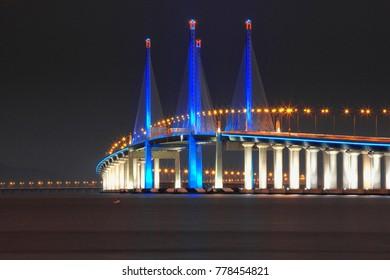 20170831, Night scenery at Penang second bridge, Malaysia.