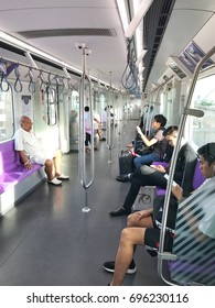 2017-August-12. Early morning on MRT purple lines. Bangkok Thailand