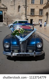 2018 06 12. Arles France. Old decorated car for wedding in the town of Arles France
