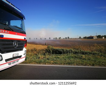 2018 24 October - Stezzano, Verdello, Bergamo, Italy: fire dept for fire in country