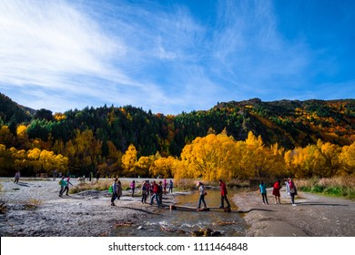 2018 April, 5 - Otago, New Zealand, People enjoy with Arrowtown in autumn with colorful trees.