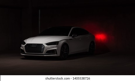 2018 Audi S5 Sportback in El Paso, TX on 19 May 2019 in a parking garage at night