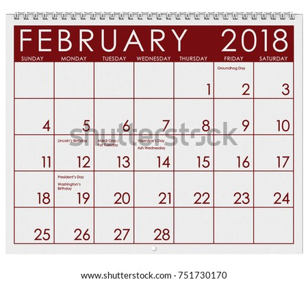 2018 Calendar Month February Valentines Day Stock Photo Edit Now
