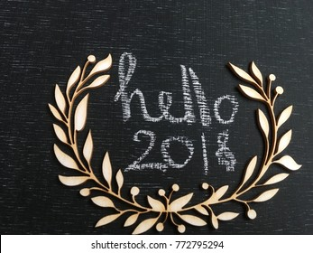 2018 chalk text on blackboard. rustic 2018. 2018 text in wooden frame
