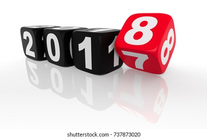 2018 Change - Red Dice. Isolated on white background. 3D Rendering