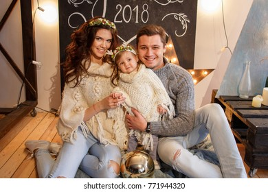 2018 Christmas and Happy New Year. Family portrait.