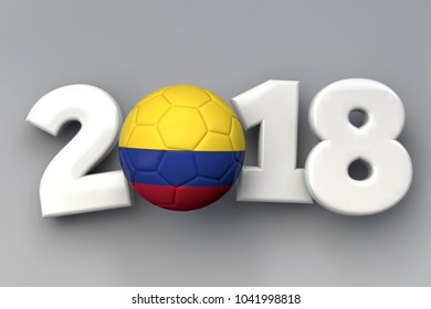 2018 Colombia flag football background. 3D Rendering