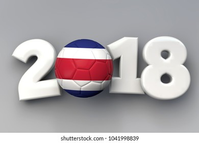 2018 Costa Rica flag football background. 3D Rendering
