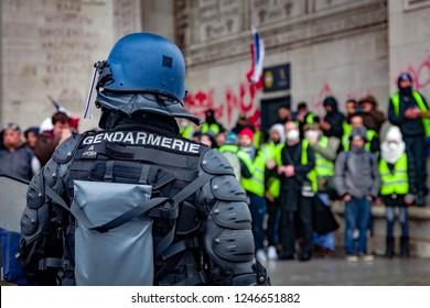 2018, December 1th - Paris, France:  Gendarmerie at Arc de Triomphe during the Yellow Vests protest against Macron politic.