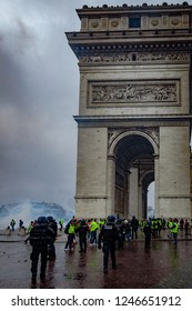2018, December 1th - Paris, France:  Protesters and police force during the Yellow Vests protest against Macron politic.