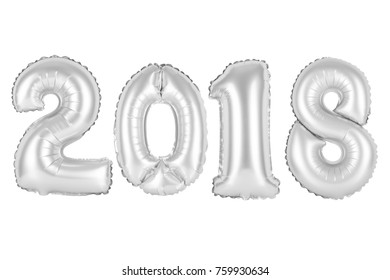 2018 in english alphabet from silver balloons on a white background. holidays and education.