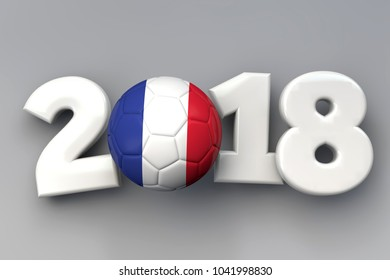 2018 France flag football background. 3D Rendering