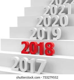 2018 future on podium represents the new year 2018, three-dimensional rendering, 3D illustration