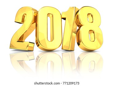 2018 golden new year with shadow reflection 3d rendering