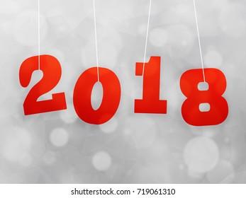 2018 gradient hanger word on white bokeh background illustration