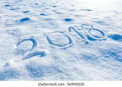 2018 handwritten on the fresh snow