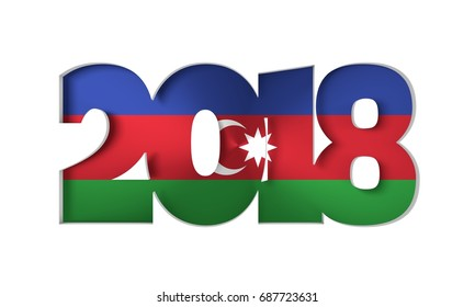 2018 Happy New Year Background for Seasonal Flyers and Greetings Card or Christmas themed invitations. Flag of the Azerbaijan. 3D rendering