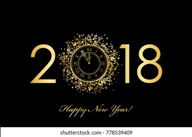 2018 Happy New Year background with gold clock on black