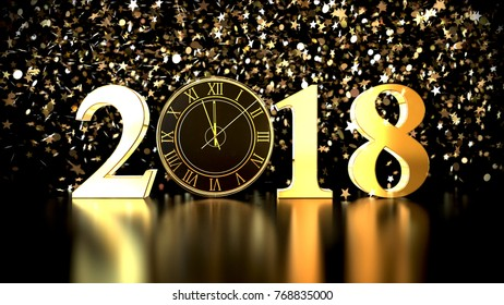 2018 Happy New Year, 2018 gold text with clock, 3d illustration