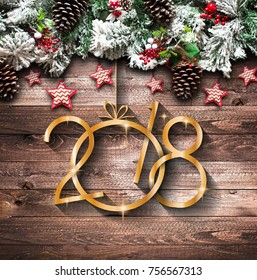 2018 Happy New Year and  Merry Christmas Frame with Snow and real wood green pine