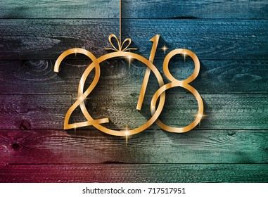 2018 Happy New Year seasonal background with real wood background., Aged parquet of pine wood for flyer, posters or invitations.