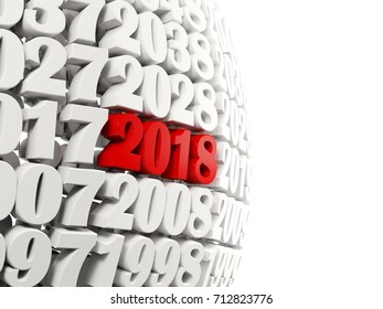 2018 Happy New Year symbol with other years. 3D illustration