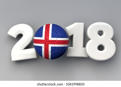 2018 Iceland flag football background. 3D Rendering