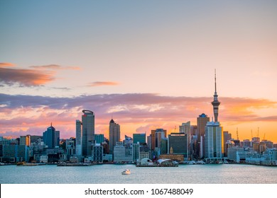 2018, JAN 3 - Auckland, New Zealand, Beautiful landcape of the building in Auckland city at dawn. View from Cyril Bassett VC Lookout.