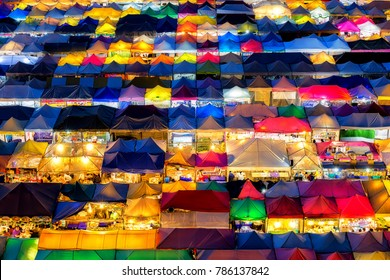 2018 , January 2 : Bangkok ,Thailand - the Colorful Night Market Ratchada, also known as Talad Nud Rod Fai, is only a two-minute walk from the MRT.