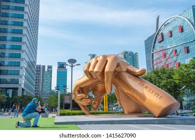 2018 June 1: Gangnam style statue in the Gangnam District in Seoul city South Korea.Is a South Korean observation point in the Gangnam area.