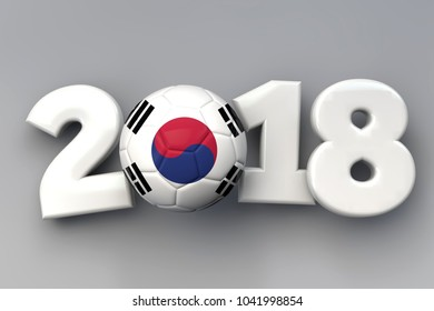2018 Korea flag football background. 3D Rendering